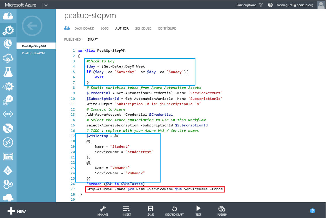 Azure Automation – Part 3.2 : Runbook Kullanımı