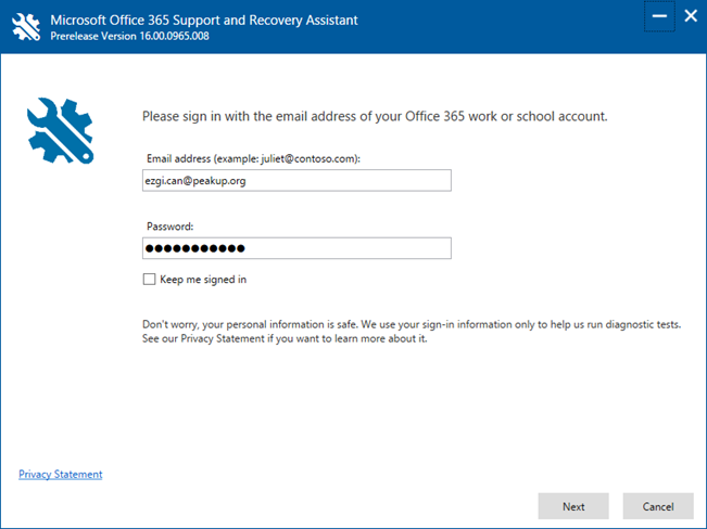 Microsoft Office 365 Support and Recovery Assistant (SaRA)