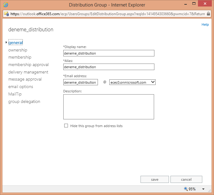 Office 365 Exchange Online Distribution Group