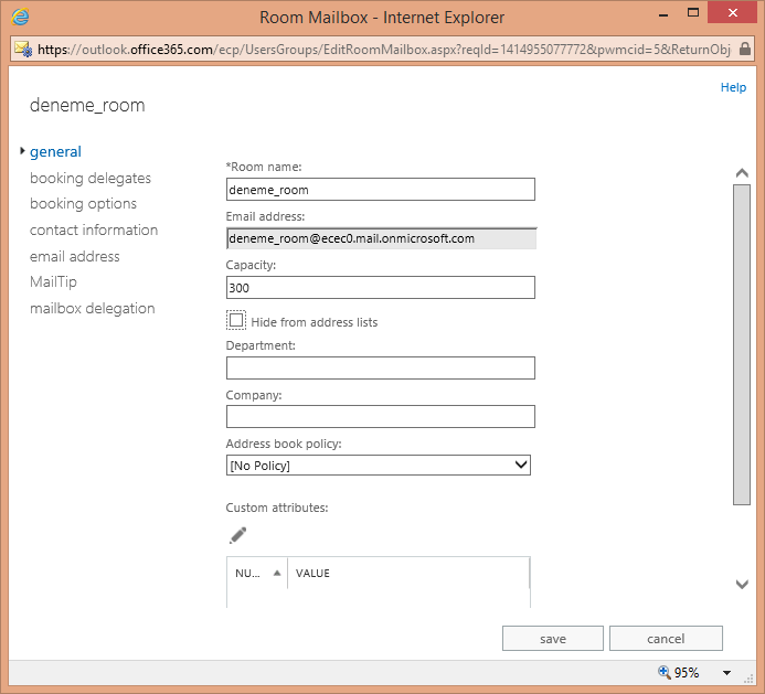 Office 365 Exchange Online Resources – Room Mailbox