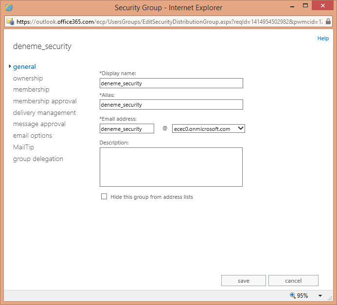 Office 365 Exchange Online Security Grup