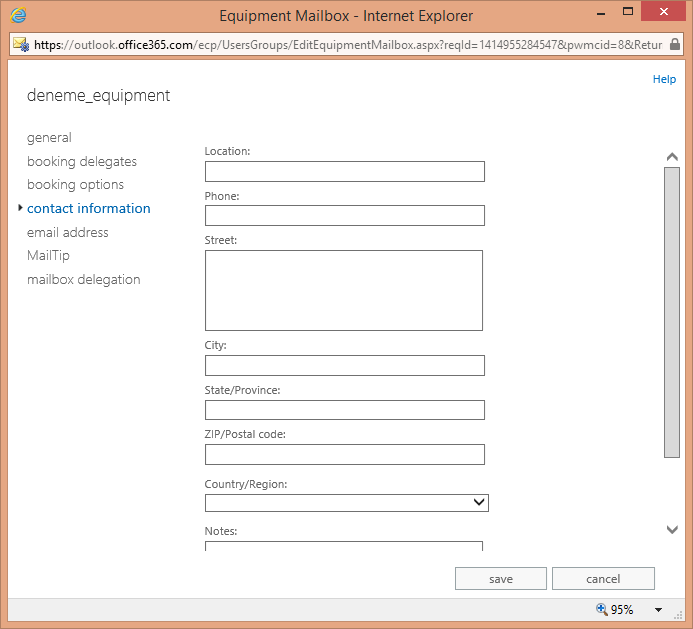 Office 365 Exchange Online Resources – Equipment Mailbox