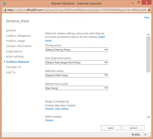 Office 365 Exchange Online Shared Mailbox