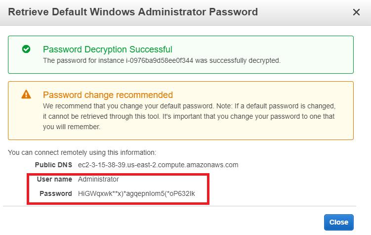 AWS Create Password